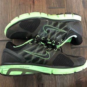 Women's black and neon green nike shoes size 12